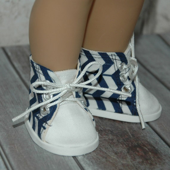high top tennis shoes blue chevron cotton fabric made for