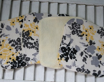 Set of 4  Washcloths,Reusable Wipes, NapkinsGrey and Yellow Floral Print