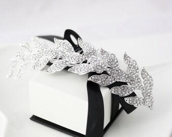 Wedding Hair Accessory Silver Leaf Bridal Tiara Hair Vine Headpiece Bridal Hair Comb Swarovski Crystal Bridal Accessory Veil Comb LAUREN
