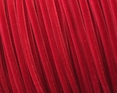 2 Yards Tiny Velvet Ribbon Trim Ruby Red 1/8 Inch Wide 3.175mm Wide