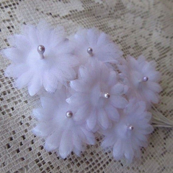 Vintage Millinery Flowers Daisies 1950s Pink Organza And Satin