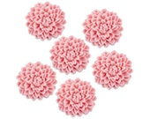 6 Light Pink Fondant Chrysanthemums - pastel pink edible sugar flowers for decorating cupcake, cakes, and cookies.