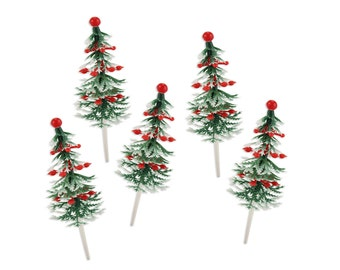 Ornament Holiday Tree Picks - 12 vintage inspired christmas tree picks for decorating holiday cupcakes and cakes