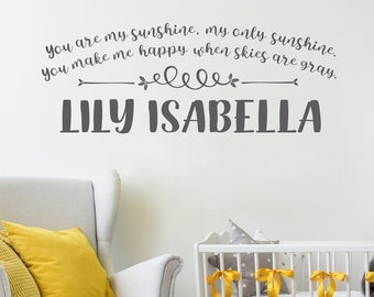 Wall Decals for Nursery, Personalized Nursery Wall Decal, Baby Name Wall Decal, Wall Decals for Kids, You are my sunshine