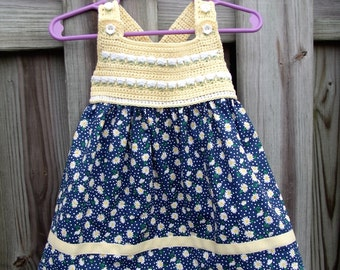 Daisy Garden Dress with Crochet Bodice in Size 3-6 Months