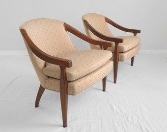 2 TRANSITIONAL open arm barrel back accent chairs