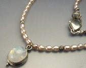 Sterling Silver Fresh Water Pearl Necklace With Moonstone Pendant