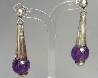 Vintage Sterling Silver Amethyst Bead Pierced Earrings