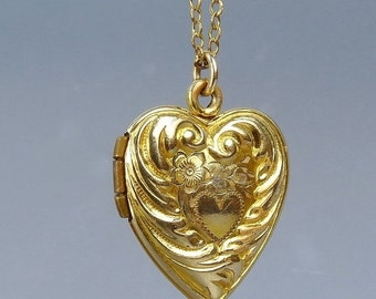 Vintage Gold Filled Puffy Heart Locket Pendant Necklace