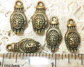 5 Antiqued Brass Buddha Head in Hand Zen Yoga OM Charm Pendant Approx. 3/4""