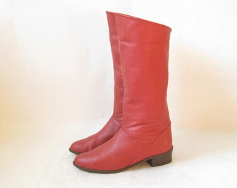 Vintage 80's Red Leather Tall Cuff Boots. Size 8