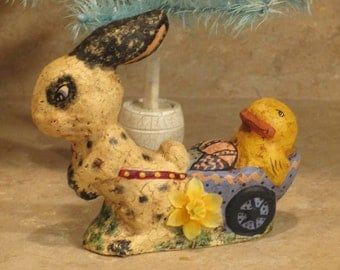Paper Mache Lg Eyed Easter Bunny Rabbit Pulling Chick Cart