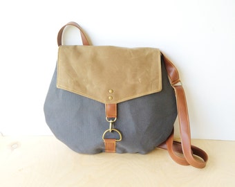satchel • waxed canvas and leather crossbody bag • slate gray canvas - light brown waxed canvas - cross body - neutral • scout