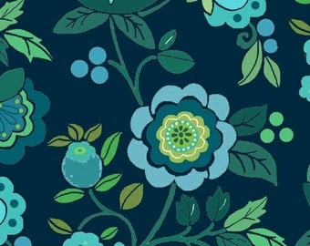 Flowers Blue Green Flannel Marcus Brothers Fabric 1 yard