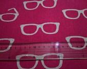 1.5 MT  Japanese Linen Blend Cotton Fabric Kokka Echino Etsuko Furuya Glasses Magenta