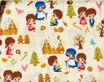 Half Yard Japanese Cotton Fabric Hansel Gretel Sweet House White