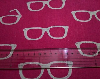 Half Yard  Japanese Linen Blend Cotton Fabric Kokka Echino Etsuko Furuya Glasses Magenta