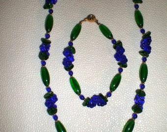 Flower Necklace Bracelet Set, Aqua or Cobalt Blue Necklace Set