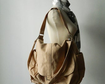 Linen Messenger bag /mom shoulder bag/ NATURAL SAND school bag/cross body /Diaper bag /Handbag /For Her / Women / Back to school SALE 25%