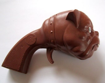 vintage squeaky bulldog gun plastic toy made in Western Germany by CE