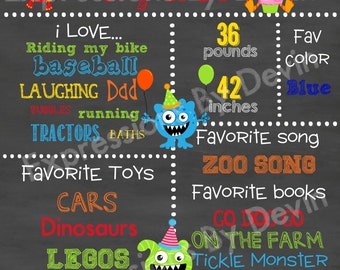 Little Monster custom ( Any age ) Birthday Chalkboard sign printable file ( Choose size 8x10, 11x14 or a 16x20