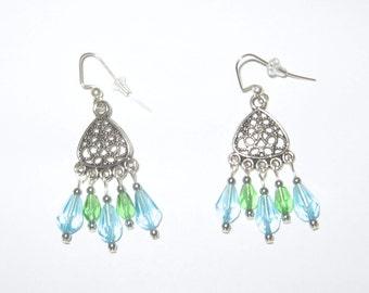 Antique Silver Pewter Teardrop Chandelier Earrings with Glass Beads