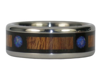 Blue Opal and Koa Wood Ring