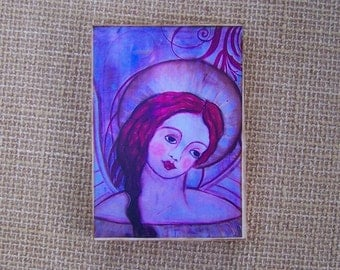 "Angel Woodblock print Painting shabby Folk Art Angel 3.5"" x 5"""