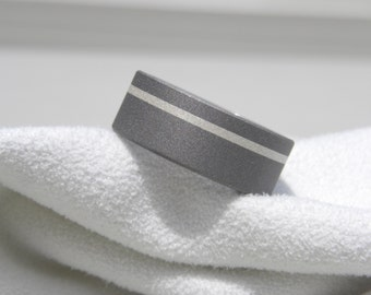 Ring or Wedding Band, Titanium Sterling Silver Stripe Inlay, 8mm size 11.75