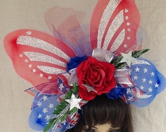 Patriotic 4th of July Red White and Blue Butterfly Headband, Hat, Stars, Wings Bows, Netting