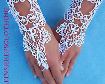Embroidered Lace Gothic Wedding Cuffs White Pair