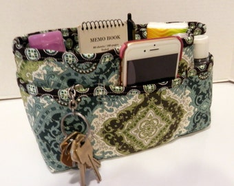 "Purse Organizer Insert/Enclosed Bottom  4"" Depth/ Teal, Brown, and Sage Green Print"