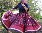 Two Tier Long Bohemian Maxi Patchwork Skirt with Modified Bustle or All Around Gather Waist