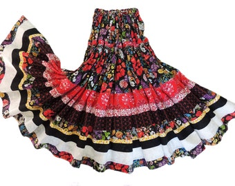Made To Order - Two Tier Full Circle Long Bohemian Patchwork Skirt