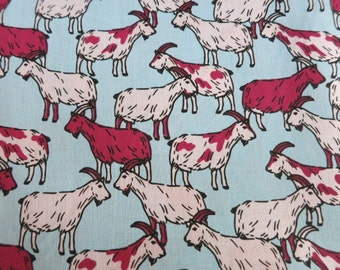Goats are all around - hand printed cotton fabric RARE