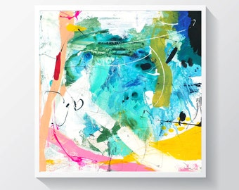 """Abstract painting, Original mixed media painting on canvas, Colorful painting.  20"""" x 20"""""""