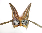 Leather Rabbit Mask freaky spooky geisha gothic Dark Carnival brown white black