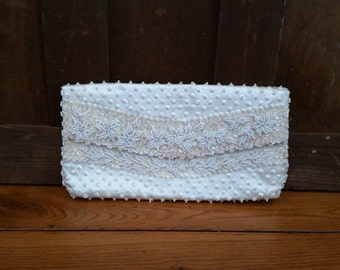 Vintage Sequin and Pearl Bead Envelope Style Clutch Purse