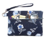 Navy Blue Wristlet, Floral Clutch, Front Zippered Wallet, Womens Small Purse, Camera or Phone Bag, Cosmetic or Makeup Case, Gadget Bag