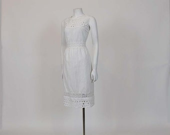 60s dress /  Simple Sally Vintage 1960's Eyelet and Lace Dress