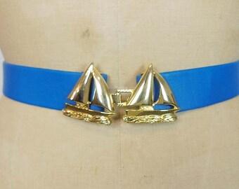 1980's Belt Buckle / Sail Away Vintage 80's Dotty Smith Belt Boat Buckle