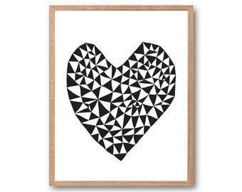 Geometric Love - Heart Art Print, Animal Illustration, Drawing, Illustration, Children Room, Kids room art, Nursery room Art, home decor