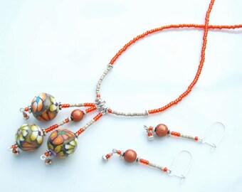 Earthy Orange Jewellery SET - Artist Bead 'In The Halloween Garden' Floral Bead Trio Pendant necklace & Earrings