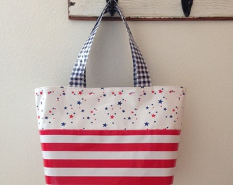 Beth's Medium Red, White and Blue Patriotic Oilcloth Market Tote Bag