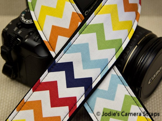 Camera Strap 2 in Wide Custom Padded Chevron Zig-Zags DSLR SLR