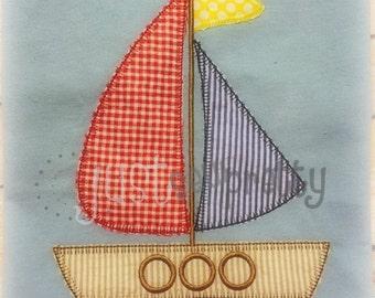 Vintage Blanket Sailboat Applique Embroidery Design