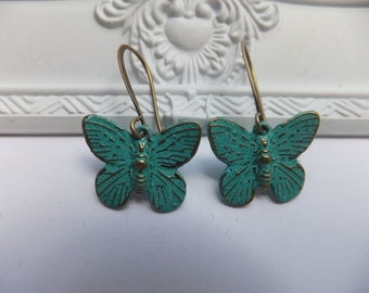 Antique Bronze Green Verdigris Patina Butterfly Earrings- Long Antique Bronze Earring Hooks