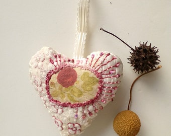Fiber art embroidered heart ornament, BIBELOT HEART III, french knot, hand stitched, home decor, collectible heart