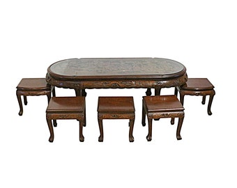 Vintage Chinese Tea Table & Stools, Hand Carved, Rosewood with Glass