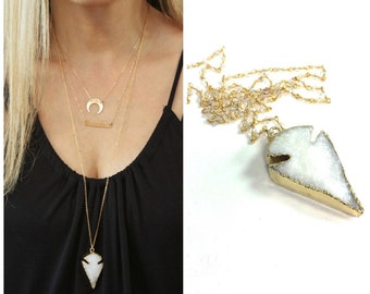Druzy Necklace, Long Druzy Necklace, Boho Necklace, Arrowhead Necklace, Long Necklace, Long Layering Necklace, Druzy Jewelry